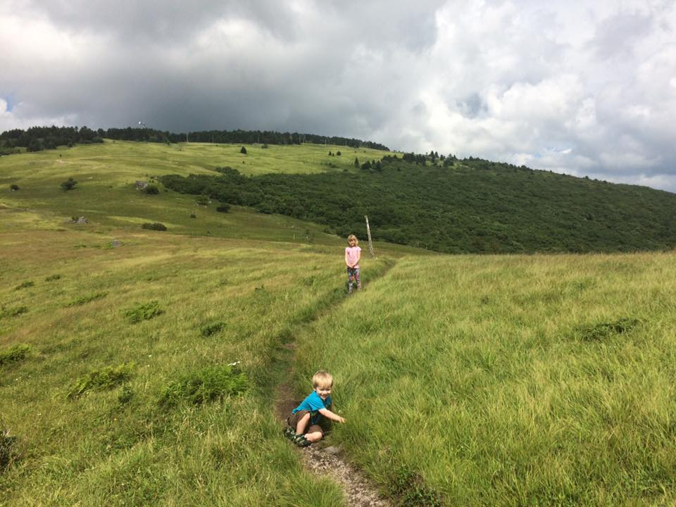 The kiddos on the Appalachian Trail in Virginia - storm's a brewin!
