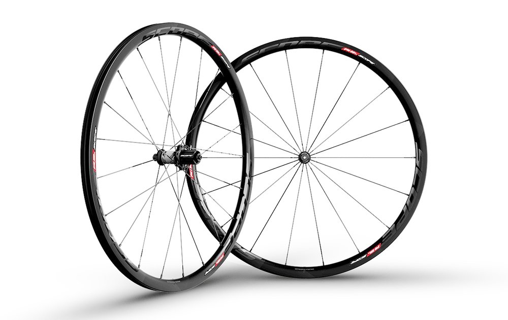 - Carbon Clincher  - Rim width: 26mm // Rim depth: 30mm  - Tubeless ready  - Sapim CX-Ray Spokes  -  Scope Hubs  - Weight: 1,440g  - $1,290 (with purchase of frame, price includes tubes and tires)