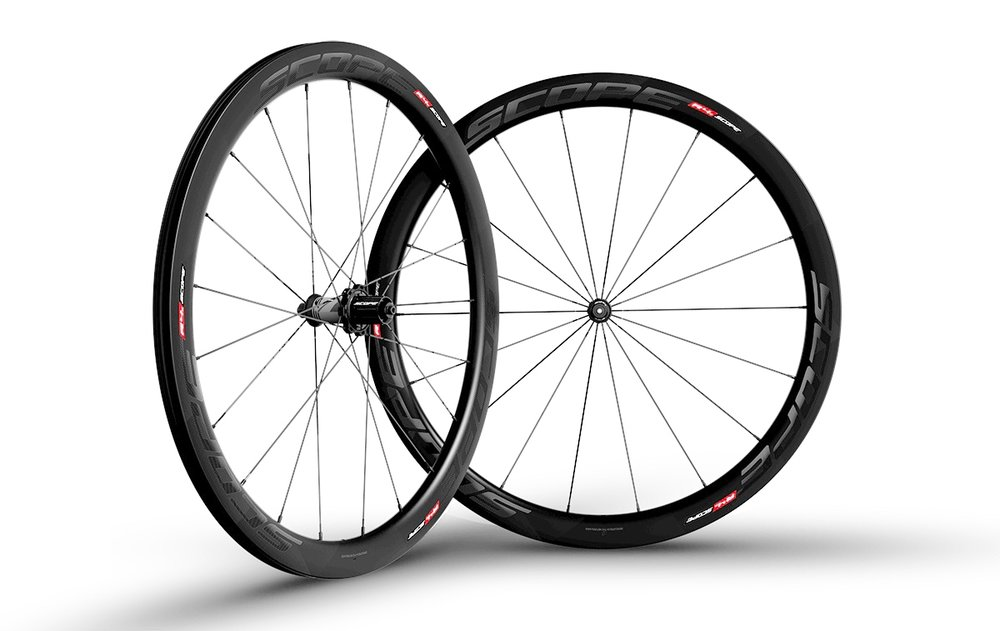 - Carbon Clincher  - Rim width: 26mm // Rim depth: 45mm  - Tubeless ready  - Sapim CX-Ray Spokes  -  Scope Hubs  - Weight: 1,520g  - $1,290 (with purchase of frame, price includes tubes and tires)