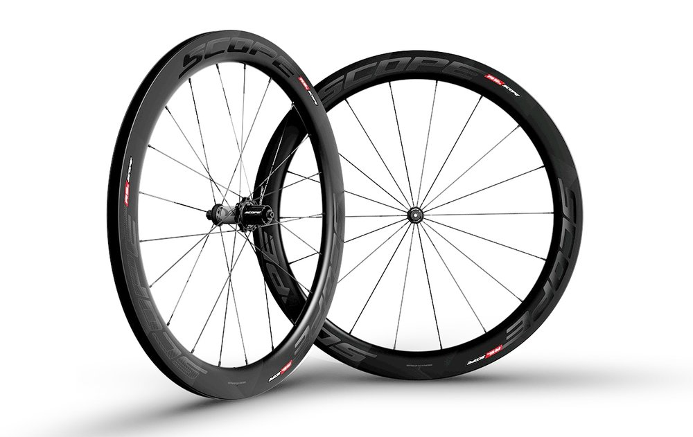 - Carbon Clincher  - Rim width: 26mm // Rim depth: 55mm  - Tubeless ready  - Sapim CX-Ray Spokes  - Scope Hubs  - Weight: 1,595g  - $1,290 (with purchase of frame, price includes tubes and tires)