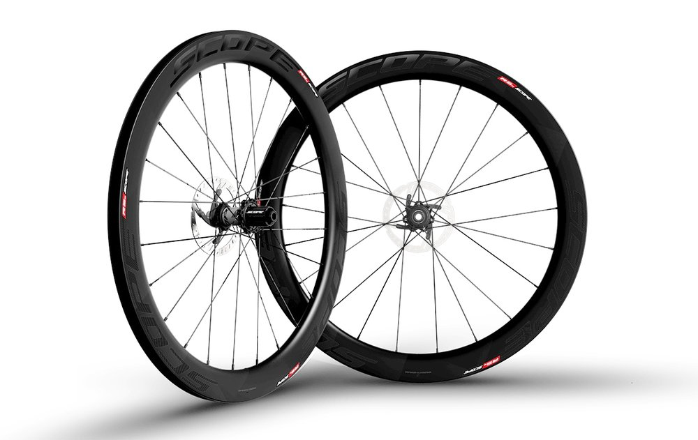 - Carbon Clincher disc brake  - Rim width: 26mm // Rim depth: 45mm  - Tubeless ready  - Sapim CX-Ray Spokes  -  Scope Hubs // Centerlock rotor mount  - Weight: 1,632g  - $1,290 (with purchase of frame, price includes tubes and tires)
