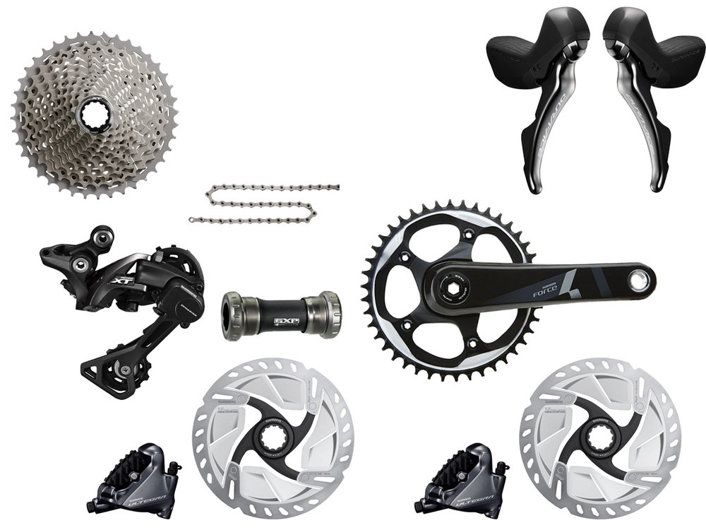- Mechanical shifting // Hydraulic flat mount disc brake  - Cassette: 11-42 tooth // Chainring: 42 tooth Sram Force 1  - Crank lengths: 170mm, 172.5mm  - Featuring Deore XT RD-M8000 rear derailleur  - $975 (with purchase of frame)