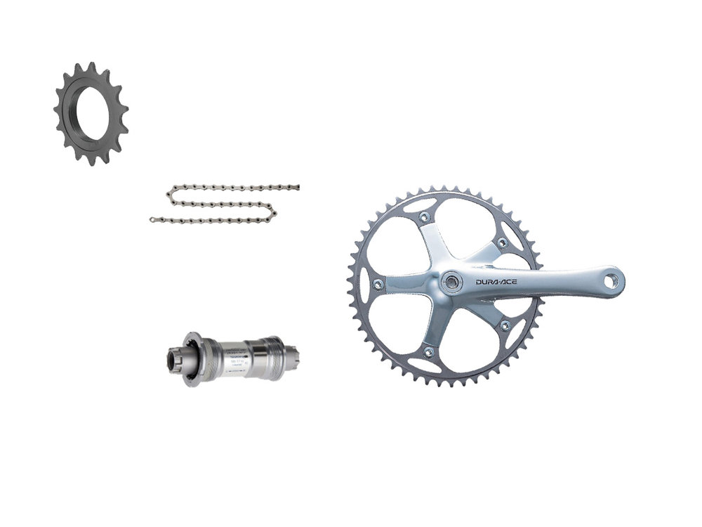 - Chainrings: 50t, 48t  - Cog: 16t  - Crank lengths: 165mm, 167.5mm, 170mm, 172.5mm, 175mm  - $750 (with purchase of frame)