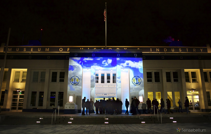 Projection mapping on the front of MOHAI in the heart of south lake union with Microsoft