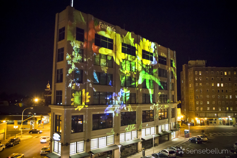 Outdoor projection mapping for Faithlife in the heart of Bellingham