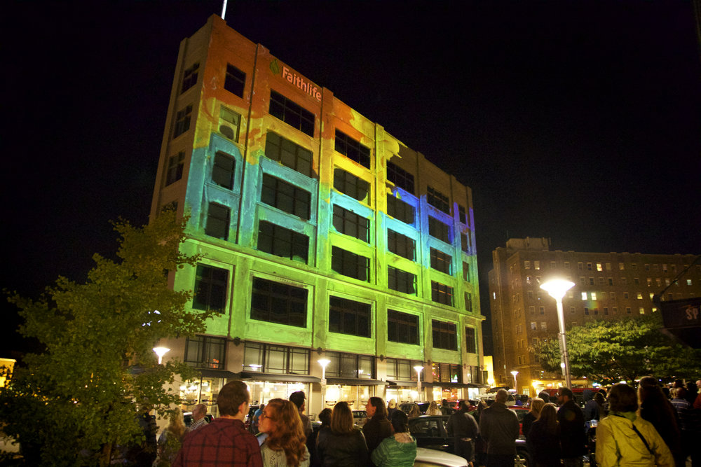 Permanent Outdoor Projections at Faithlife