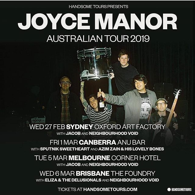We have a couple of double passes to giveaway to upcoming Joyce Manor dates! Thanks @handsometours !!! Email info@deathproof.com.au to win! 🎟️🎟️🎟️