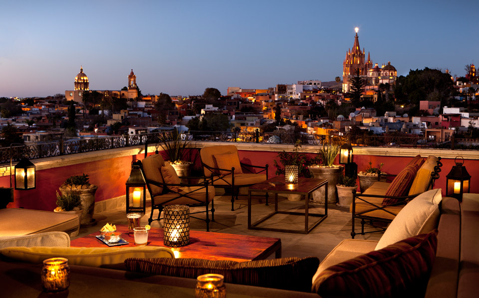 Rooftop dining at Rosewood San Miguel de Allende