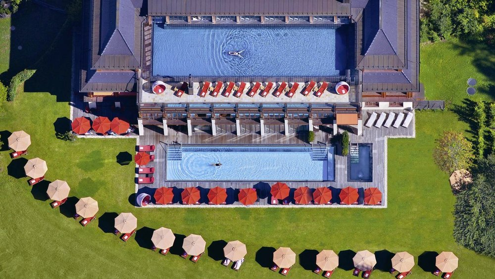 Aerial view of Badehouse Spa pools