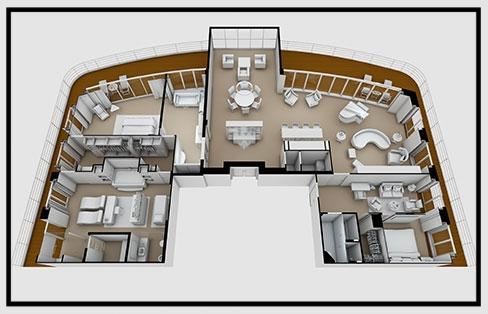Floorplan of the Regent Suite on the Seven Seas Explorer