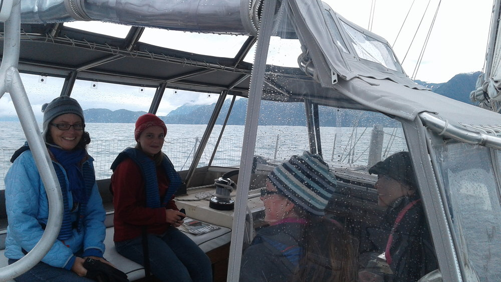 Relax under our viewing enclosure as we travel under sail.
