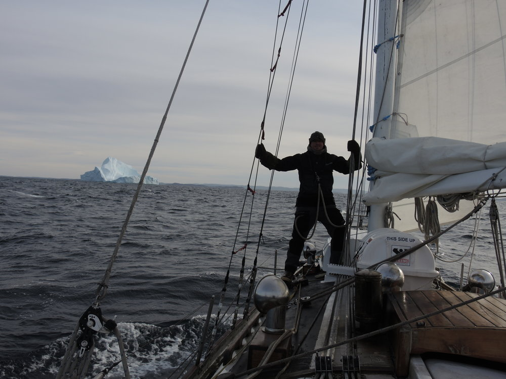 Approaching landfall in Greenland, summer 2014 on  S/V Empiricus.