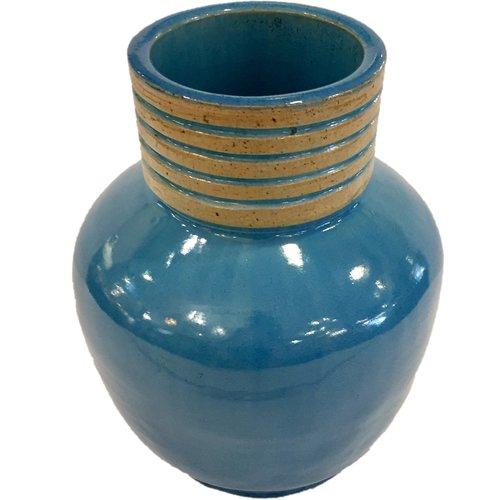 Signed Blue Pottery Vase Dulce