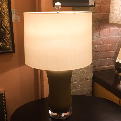Pair Of Brown Ceramic Acrylic Table Lamps Dulce
