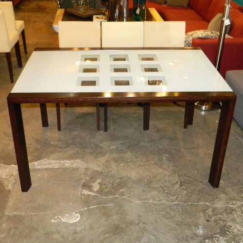 Extensia Eboy Oak Finish Glass Top Dining Table W6 Chairs By
