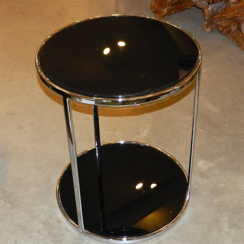 Chrome Black Glass End Table 2 Available Dulce