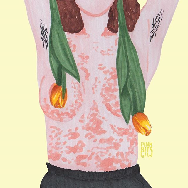 "🌹🌹 by @pink_bits . ""Even more florals and beautiful skin for you and your feed 🌷🌷 #tuliptits . . . #pinkbits #art #illustration #design  #feminist #representation #diversity #pastel #yellow #flowers #floral #tulip #skin #bodyhair"""