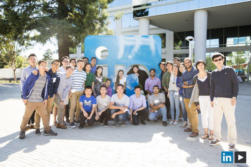 "The first day of my internship at LinkedIn with the last batch of interns (we all started on June 25th). I'm inside the ""n"" of the inBug!"