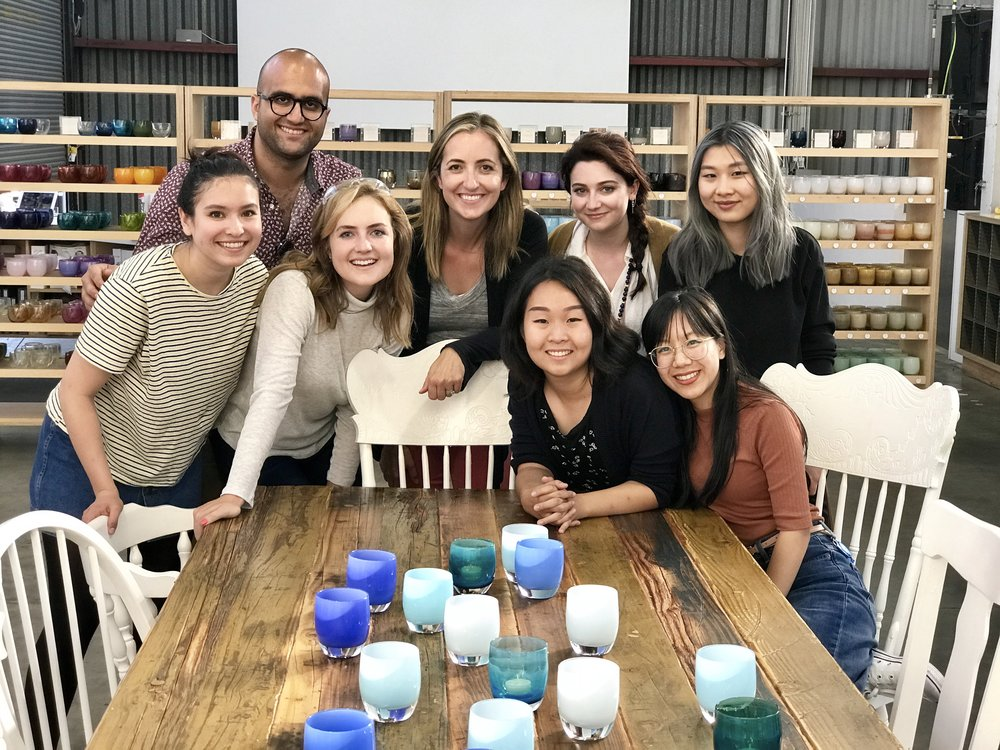 UED Family.  This photo was taken during out User Experience Design intern off-site at Glassybaby in Berkeley where we got to learn to glass blow!