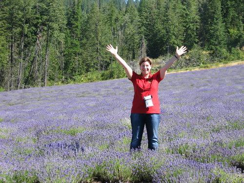 Audrey at Silver retreat in lavender field at Young Living Farm St. Maries, Idaho.