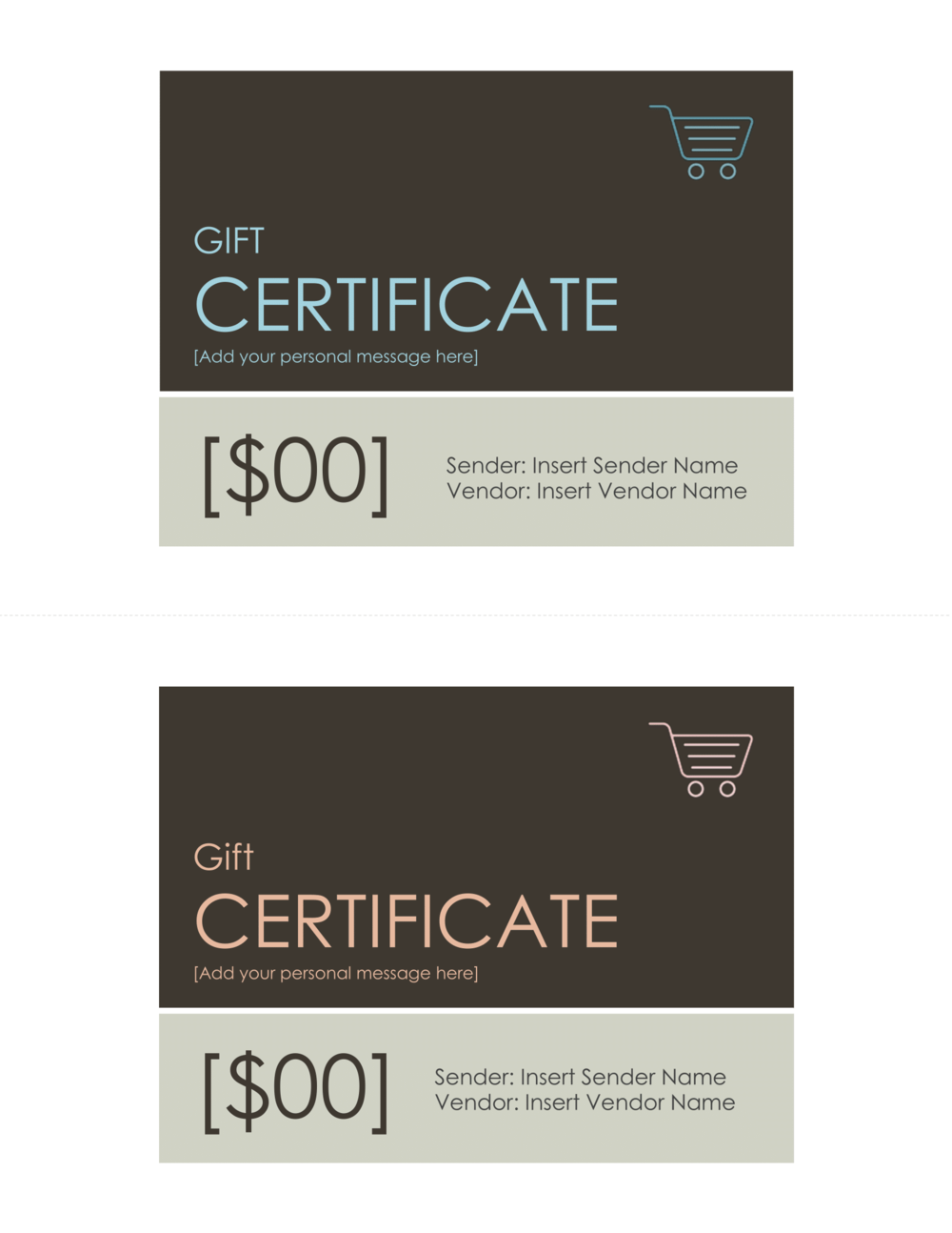 FREE Modern Peach & Aqua Gift Certificate Template — Introspec Marketing