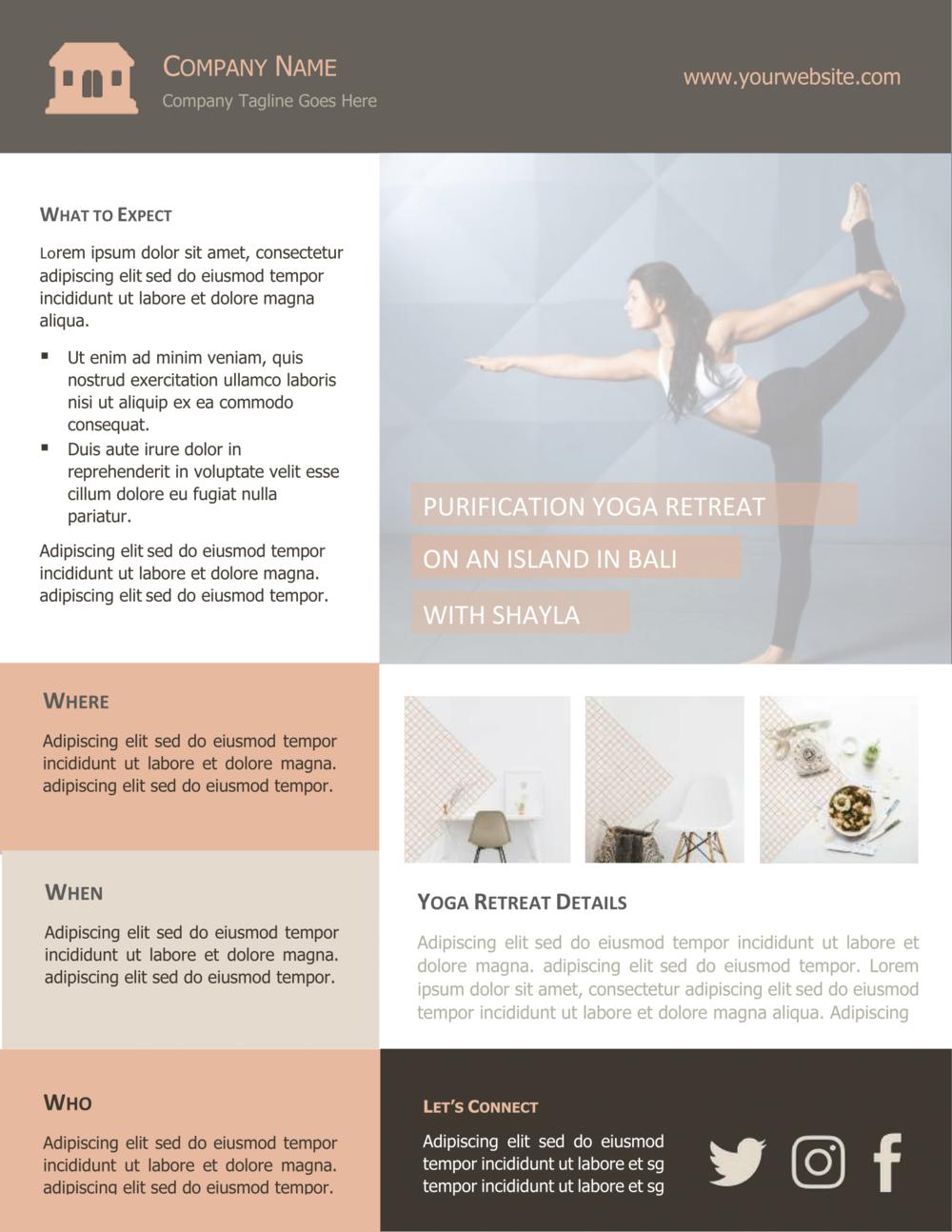 Free Yoga Flyer Template Introspec Marketing