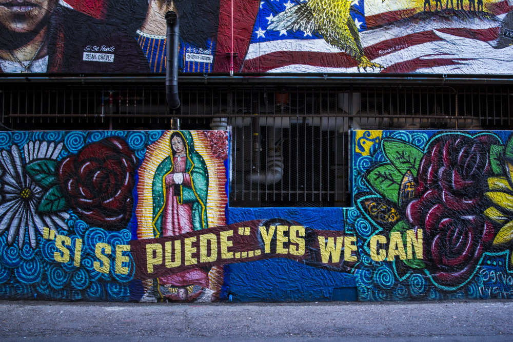 Alley between 1st St and Adams, mural by Roman P. Reyes. Photo by Brandon Salaz.