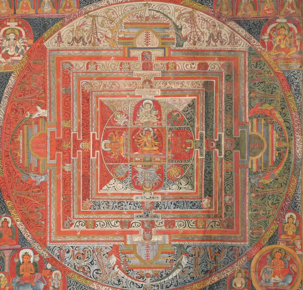 Manjuvajramandala with 43 deities, from Tibet. Tempera on cotton. {{ PD-US }}