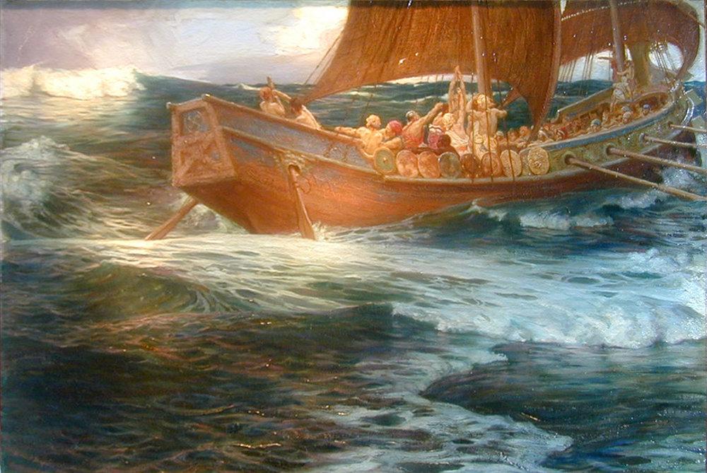 Wrath of the Sea God by Herbert James Draper (1863-1920). Oil on Canvas.