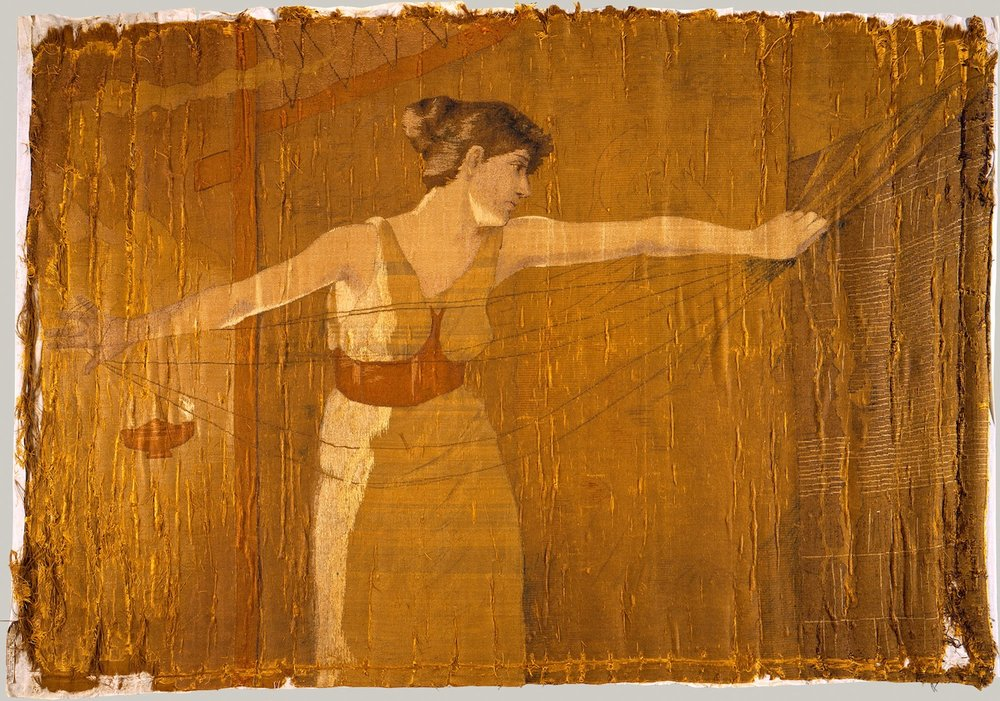 Penelope Unraveling Her Work at Night by Dora Wheeler (1856–1940).Silk embroidered with silk thread.