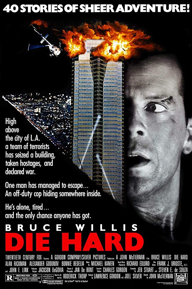 Poster for Die Hard (1988), starring Bruce Willis, directed by John McTiernan.