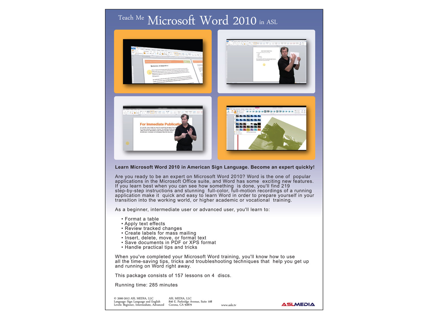 Teach Me Microsoft Word 2010 In Asl Homestudy Dvd