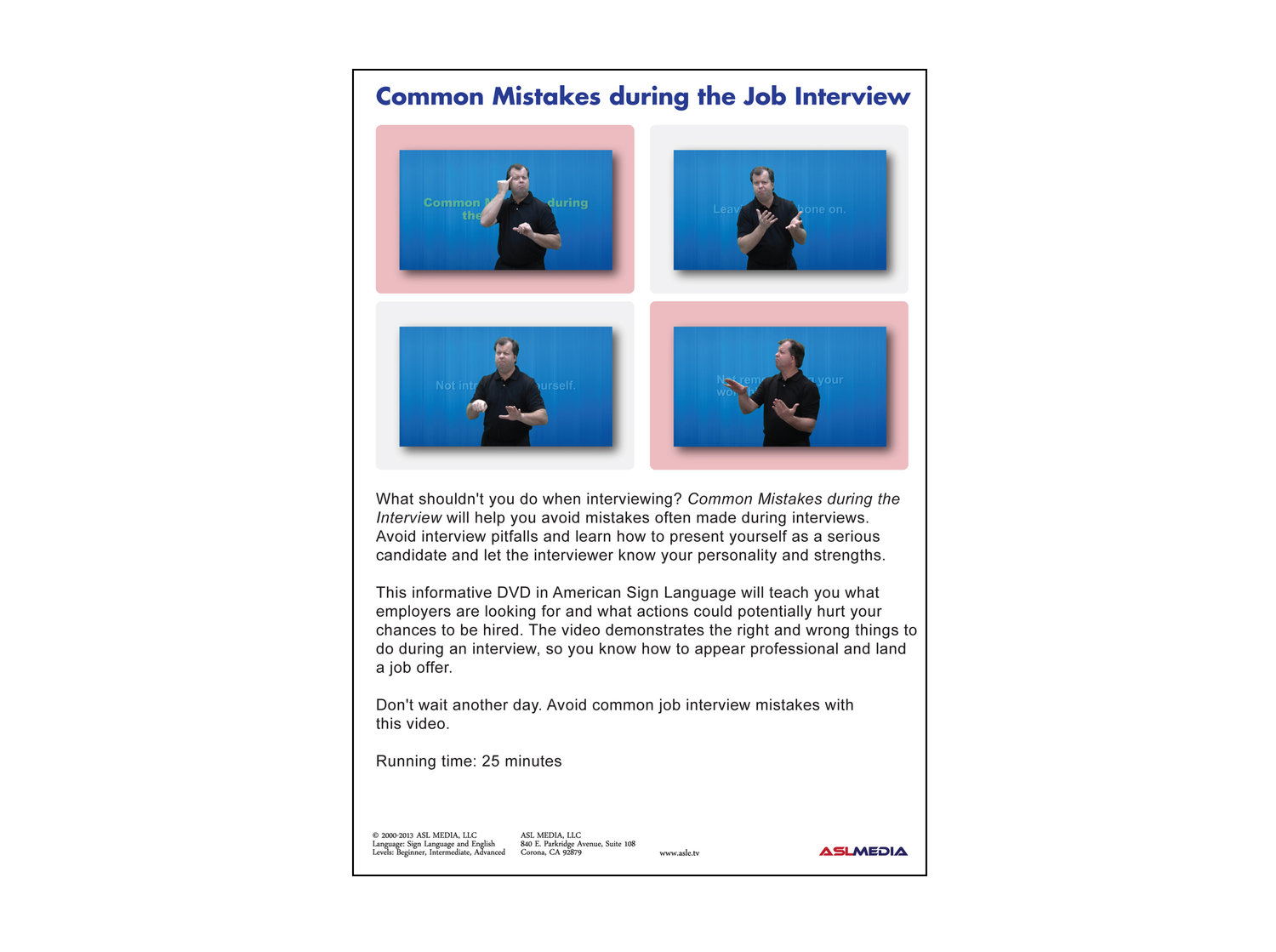 job success common mistakes during the interview dvd asl media job success common mistakes during the interview dvd