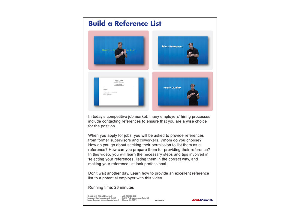 Beautiful Job Success: Build Your Reference List DVD (First Version)