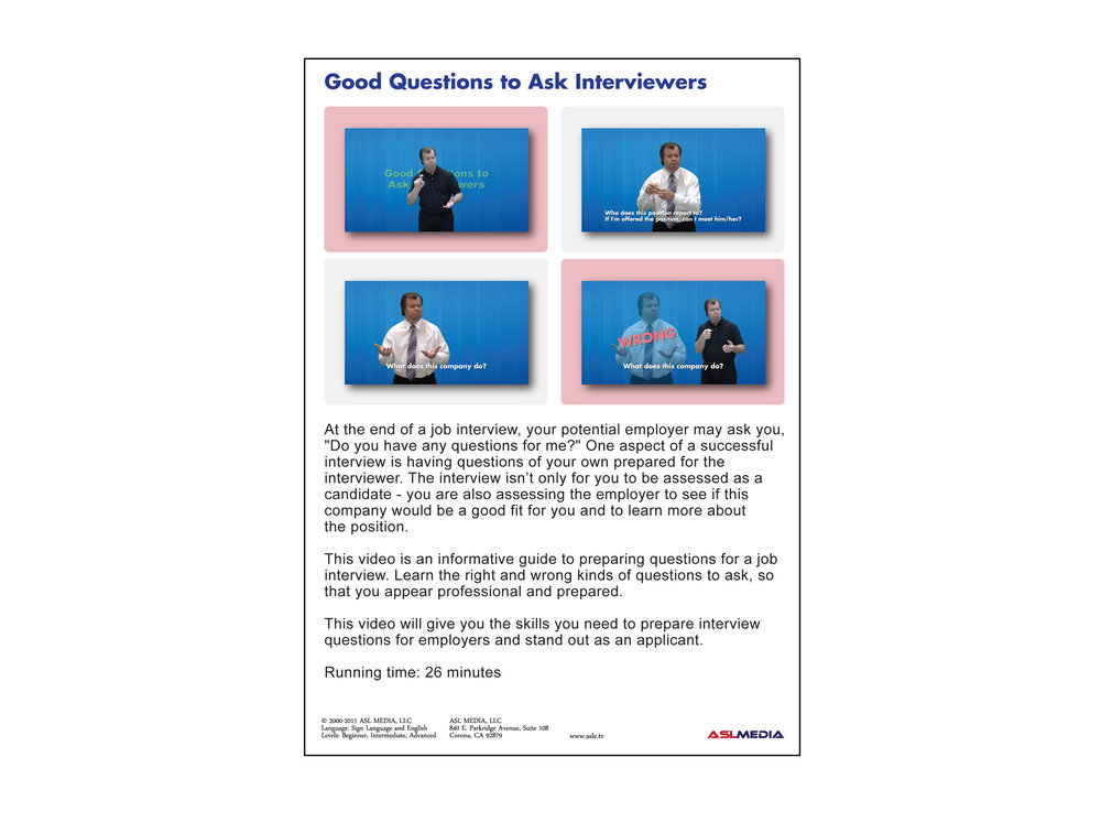 Job Success Good Questions To Ask Interviewers DVD First Version