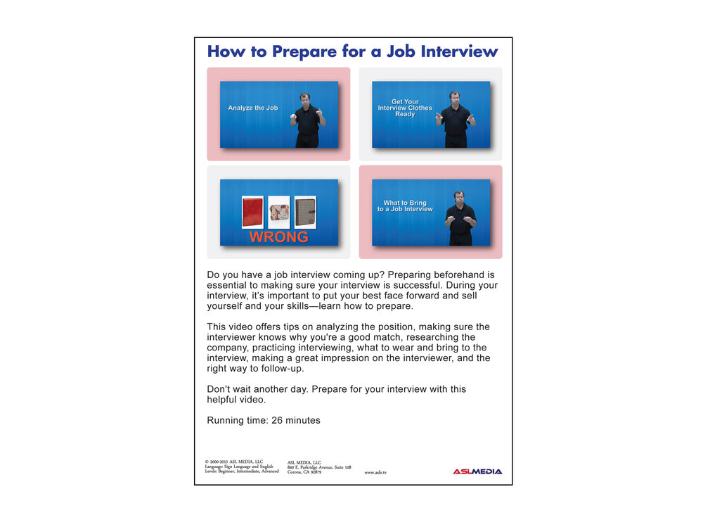 Job Success: How To Prepare For A Job Interview   DVD (First Version)