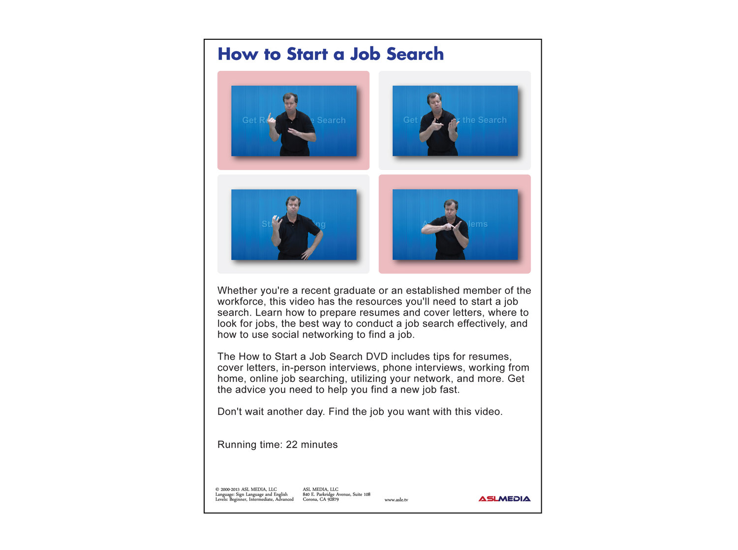 Job Success: How to Start a Job Search - DVD (First Version) — ASL MEDIA