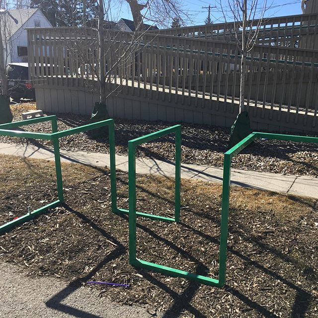 The bike rack at the Hall was donated by Past-President Mike Cundall and his family.