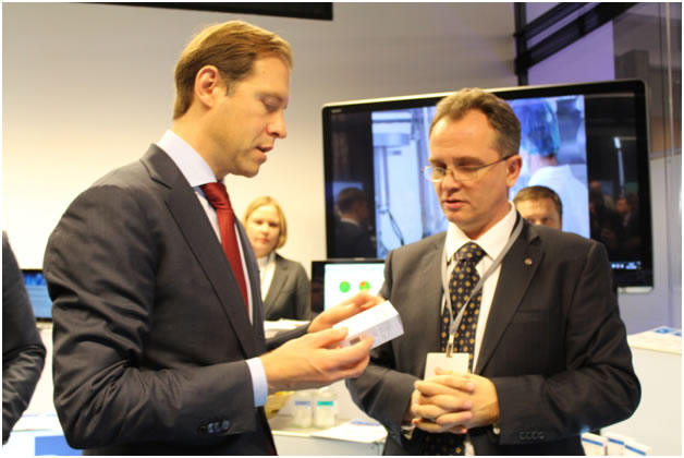 Photo: Head of HTC ChemRar, Andrey Ivashchenko is presenting VM-1500 to the Head of the Russian Ministry of Industry and Trade, Denis Manturov
