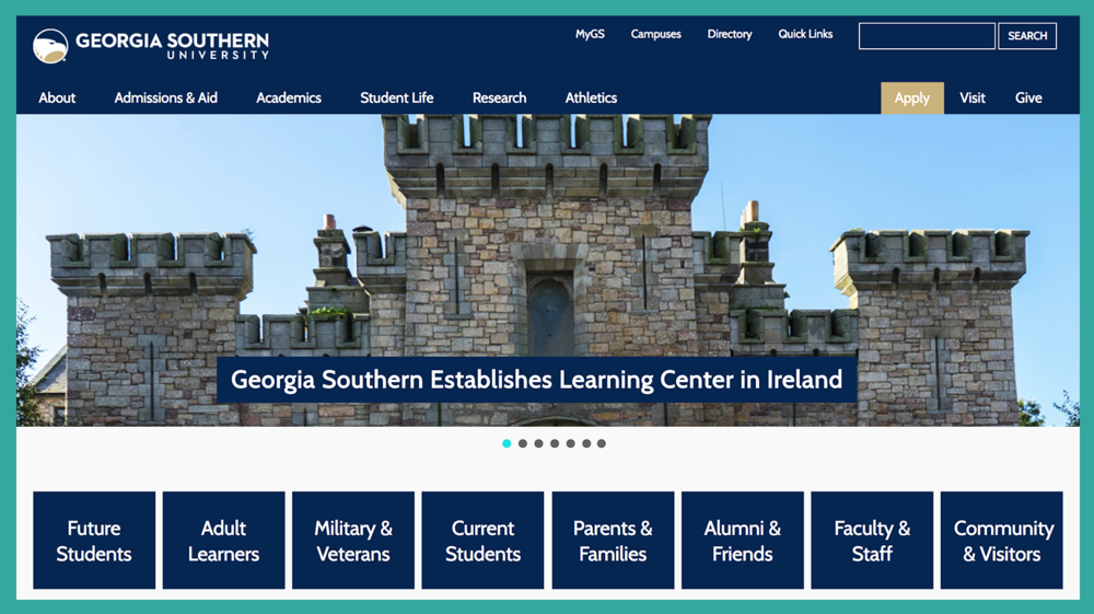 Above: Once the Announcement Event occurred, the homepage of Georgia Southern University led with the Learning Center in Wexford Town. Via its primary outward-facing forum, the University celebrated the first time in its 113-year history that it has had an overseas facility. An article in  Georgia Southern Magazine , a high-quality print publication, will be forthcoming.