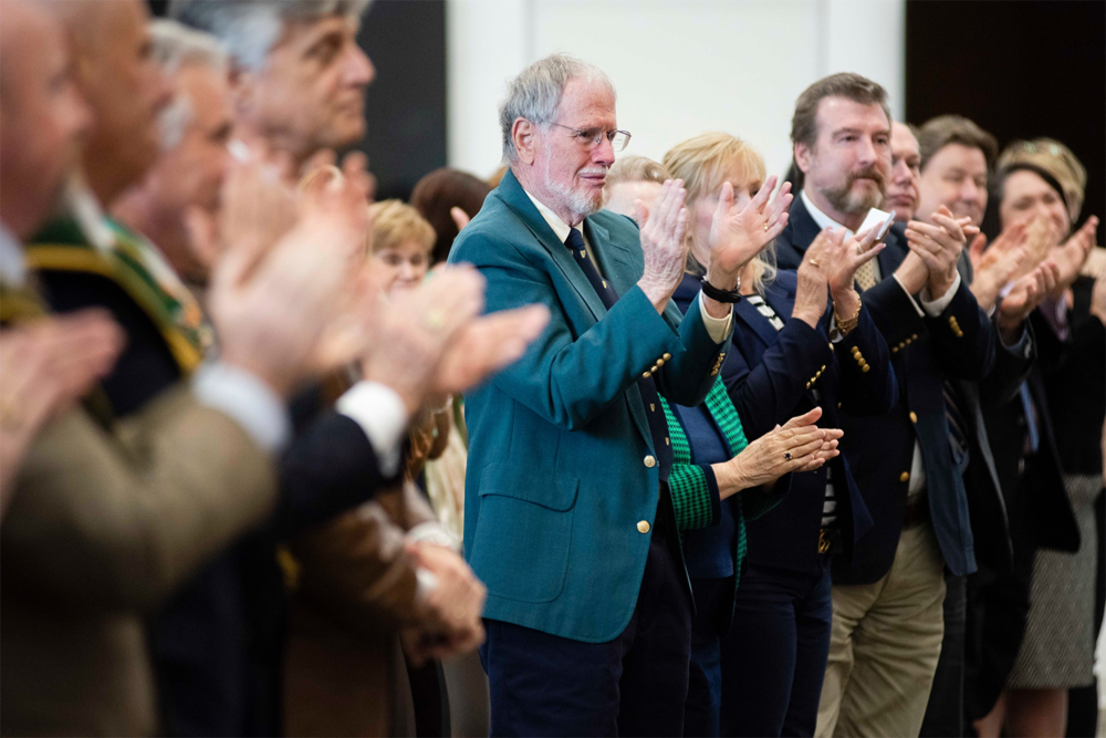 Above:    Fred Sanders   , PhD (center), the founding Director of Georgia Southern University's Center for Irish Research and Teaching, joined the crowd to applaud    Georgia Southern University - Ireland    and the partnership that precipitated it.