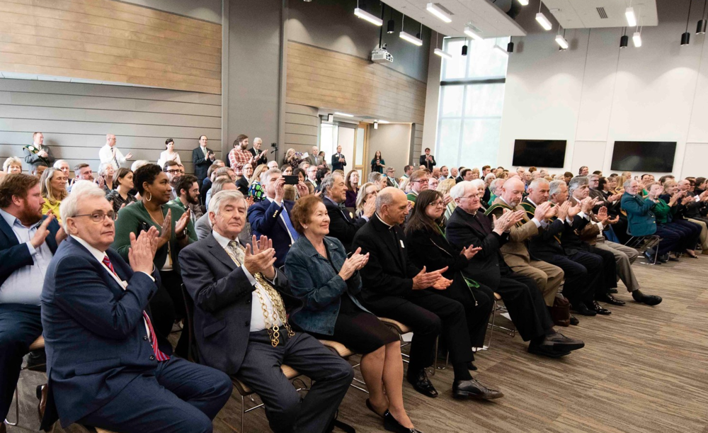 Above: Irish and Savannahian stakeholders reacted with enthusiasm as the Announcement Event revealed details about the enhancement of international educational opportunities for Georgia Southern students and faculty members.