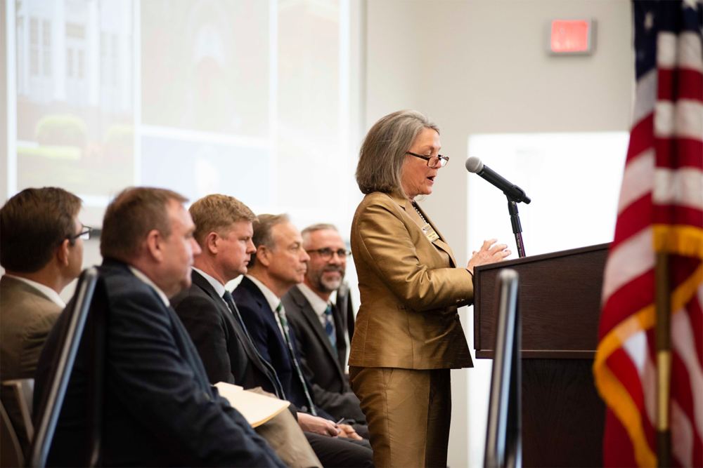 Above: Georgia Southern University's President,    Shelley C. Nickel   , led the Announcement Event, held in the Memorial Health Learning Studio of the Armstrong Campus, Savannah, during the afternoon Monday, March 18, 2019.