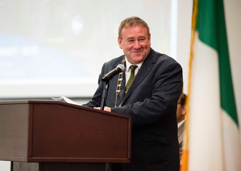 Above:    Keith Doyle    serves as Cathaoirleach (Chair) of Wexford County Council. Realization of    Georgia Southern University - Ireland    is the result of the Council's vision and leadership. Doyle masterfully represented County Wexford on the podium at the Announcement Event.