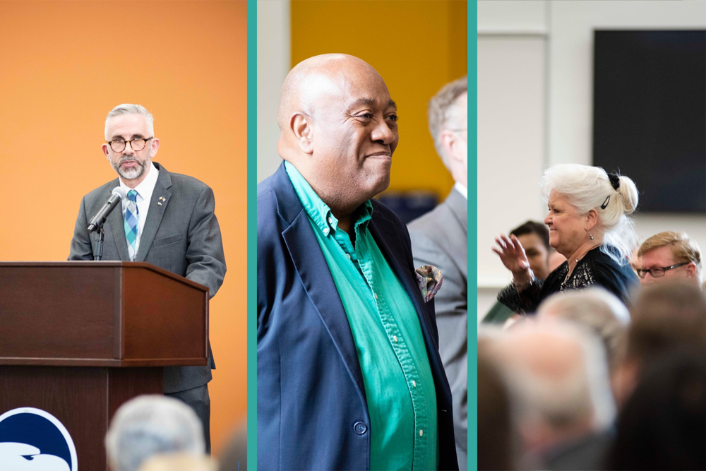 Above:    Howard Keeley    of Georgia Southern (left) expressed gratitude to the attendees. Those he acknowledged from the podium included    Roger Moss    (center), Director of the Savannah Children's Choir, which in 2016 chose County Wexford for its tenth anniversary tour. Wexford County Council could not have been more hospitable to the young Savannahians. • Keeley also asked the crowd to salute    Angela Coleman    (left), the organizational genius most responsible for the success, year after year, of the Savannah St. Patrick's Day Parade.