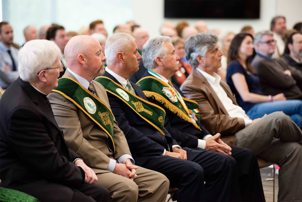 """Above: Among those in the front row at the Announcement Event were (left to right): Most Rev.    J. Kevin Boland   , DD, Bishop Emeritus, Diocese of Savannah;    Brian F. Byrne   , Assistant Secretary, Savannah St. Patrick's Day Parade Committee;    Lawrence E. (""""Bubba"""") Edgerly   , General Chairman, Savannah St. Patrick's Day Parade Committee;    Gerald P. (""""Jerry"""") Counihan, Sr.   , 2019 Grand Marshal, Savannah St. Patrick's Day Parade; Eddie DeLoach, Mayor, City of Savannah."""