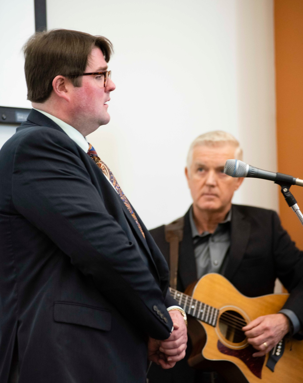"""Above: Bringing the formal part of the Announcement Event to a stirring close, Professor    Jonathan Murphy    of Georgia Southern University's Department of Music and Center for Irish Research and Teaching gave a truly memorable performance of """"Danny Boy,"""" accompanied on guitar by    Harry O'Donoghue   ."""