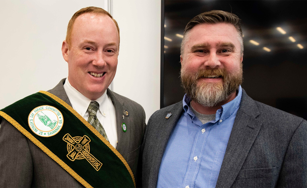 Above left:    Ashley Norris    serves as Secretary of the Savannah St. Patrick's Day Committee. He is a graduate of Georgia Southern University, where he majored in business and minored in Irish Studies. • Above right:    Dustin Anderson   , PhD, is a valued member of the faculty of the University's Center for Irish Research and Teaching. In addition, he is an associate professor of literature and the Chair of the Faculty Senate.