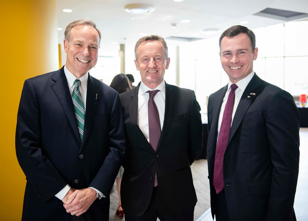 Above (left to right):    Don Waters   , Chair, Board of Regents, University System of Georgia;    Éamonn Murphy   , Chair, Board of Directors, Wexford Enterprise Center;    Trip Addison   , Vice President for External Affairs, Georgia Southern University.