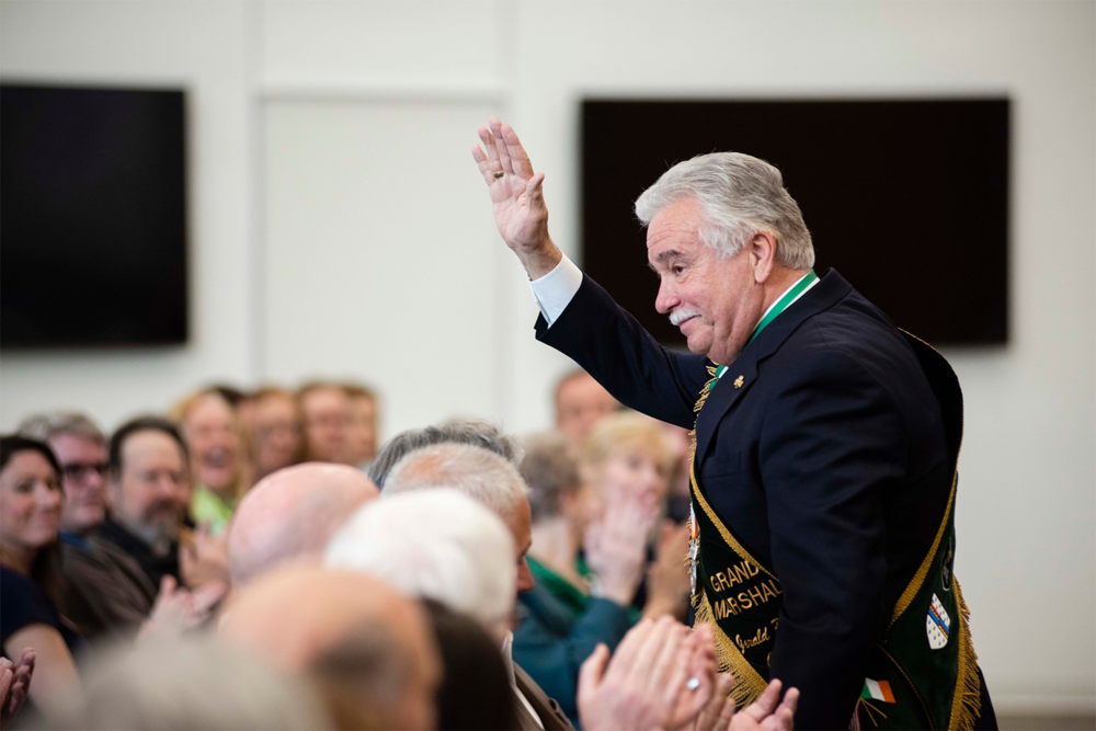 Above:    Jerry Counihan    responded to the audience's acknowledgement of his work as the 2019 Grand Marshal of the Savannah St. Patrick's Day Parade. That role constitutes a high honor for any member of Savannah's Irish community.